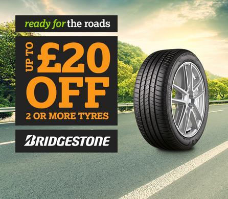 Up to 20 pound off Bridgestone Tyres